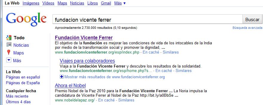 resultados de búsqueda en Google