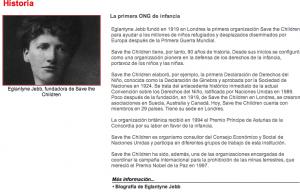 Captura de pantalla de la web de Save the children España