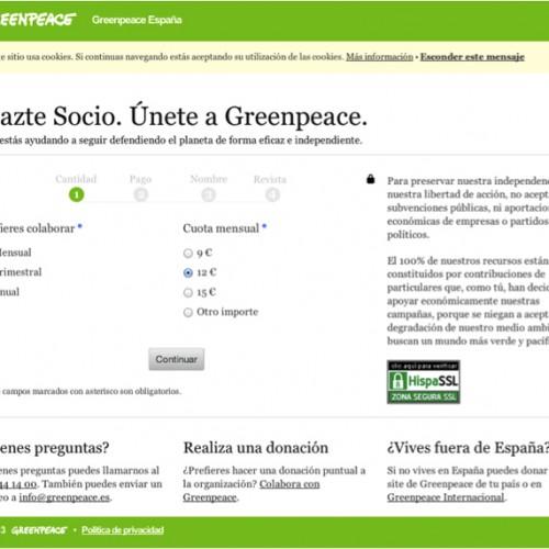 Ejemplo de formulario de donación de Greenpeace