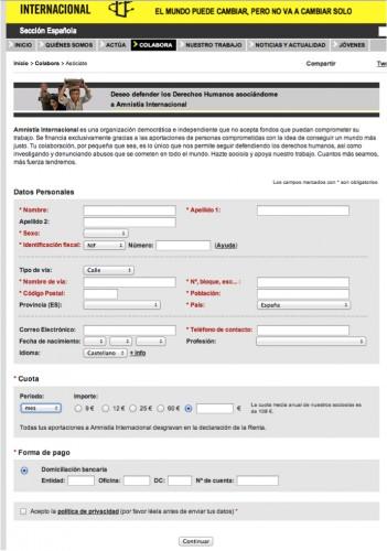 El potencial donante de Amnistía Internacional llega a este formulario porque sabe lo que es la entidad, es innecesario incluir un párrafo al inicio del formulario con tanto contenido. También es innecesario preguntar por la forma de pago, si se ofrece una única opción.