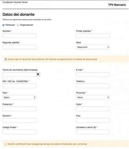 Ejemplo de formulario con etiquetas sobre las cajas.