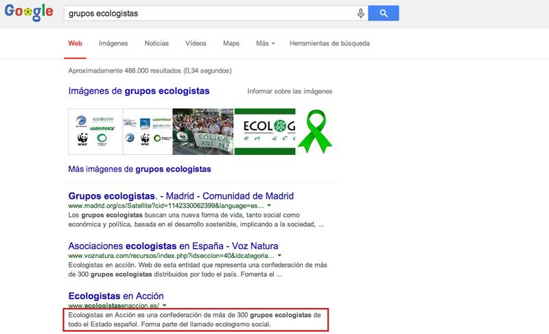 Este caso de la web de Ecologistas en Acción es paradigmático de la buena inserción de una etiqueta Meta-descripton.