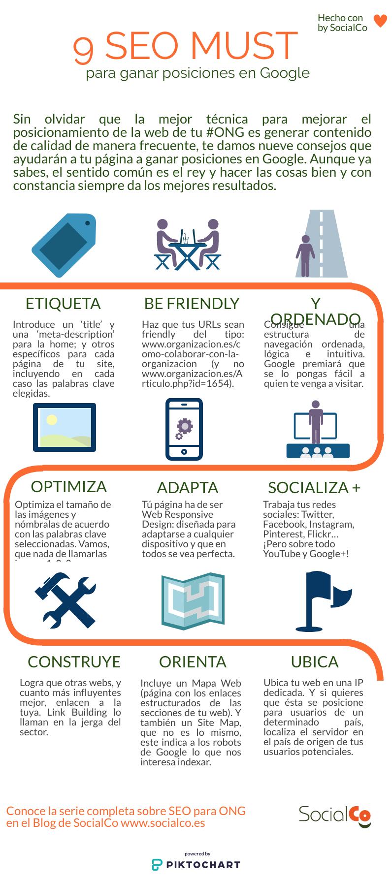 infografía con nueve consejos SEO