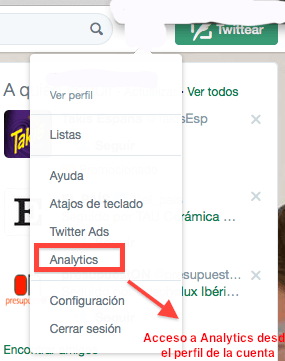 acceso Analytics de Twitter