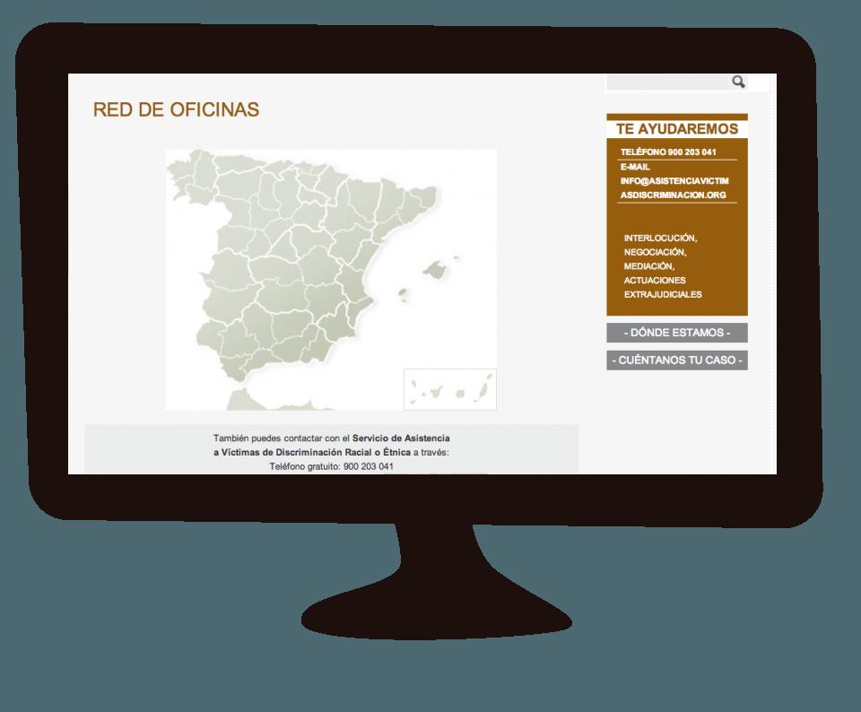 Imagen del trabajo Web de la red de Asistencia a Víctimas de Discriminación