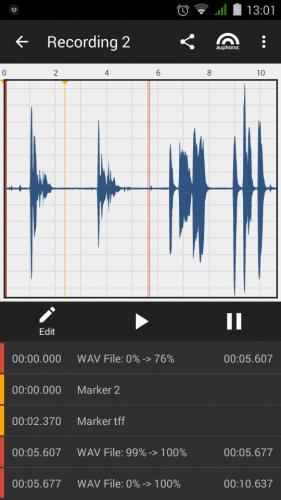 Pantalla de edición de sonido con la app Auphonic Edit