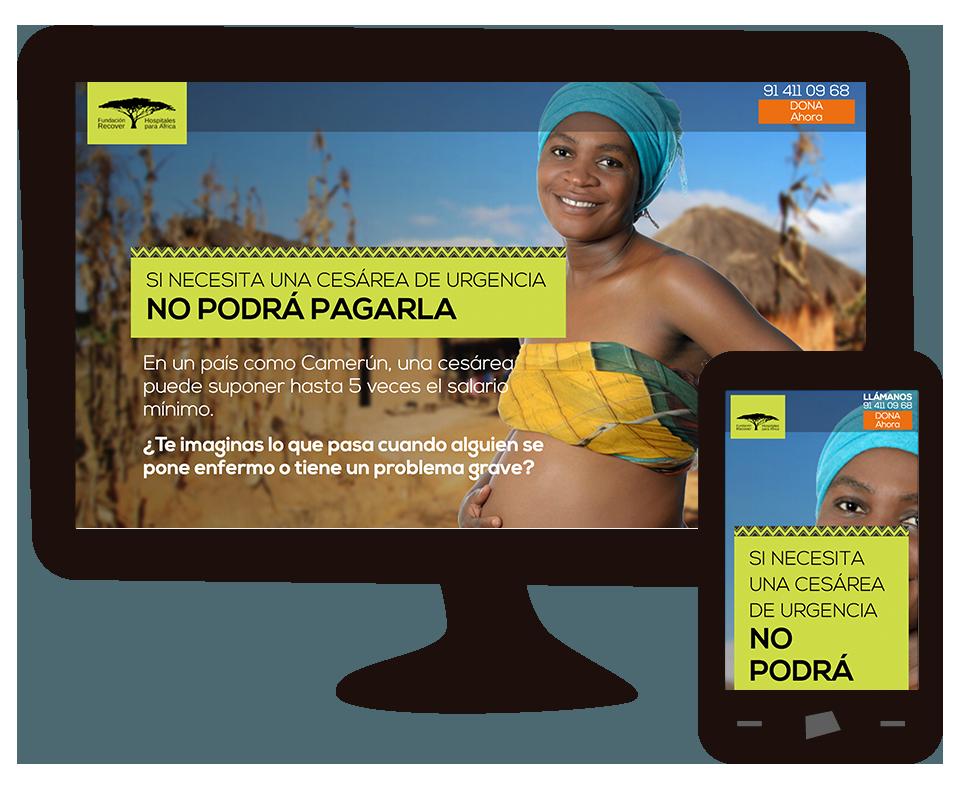 """Imagen del trabajo Landing Page y apoyo en la campaña """"Hospitales para África"""" de la fundación Recover"""