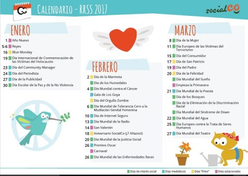 calendario RRSS 2017 comunicacion ONG