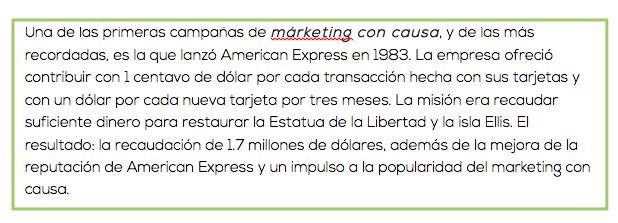 Explicación de la campaña de márketing con causa de Américan Express