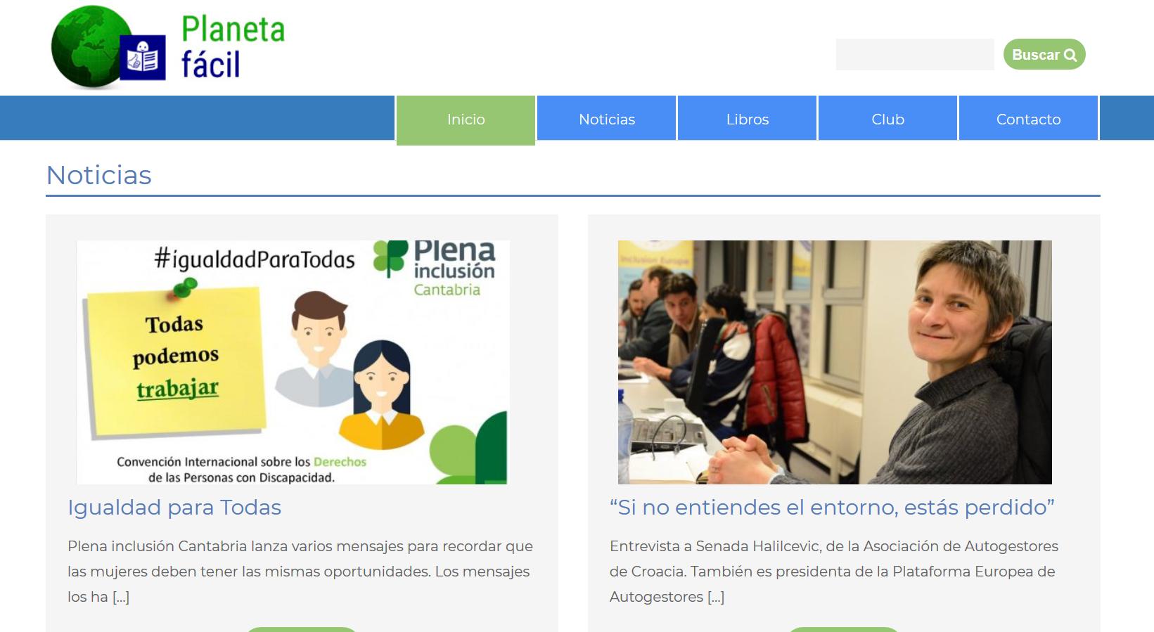 Imagen del trabajo Nueva web del proyecto Planeta Fácil de Plena Inclusión