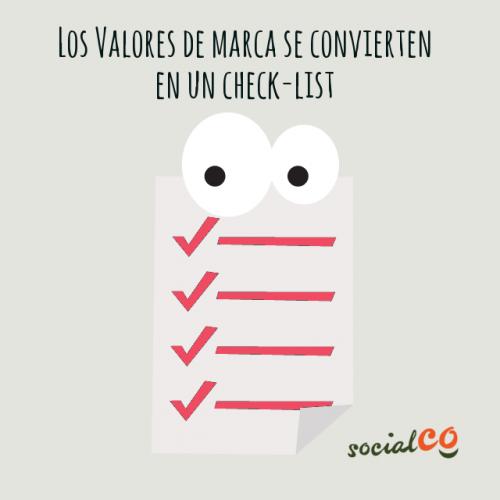 check-list para los valores de marca de ong