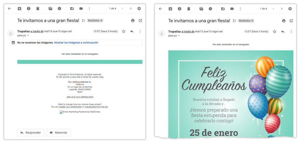 Texto alternativo en fotos de emails