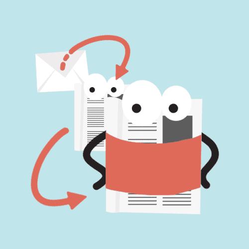 Icono que representa la entrega, apertura y conversión de un email