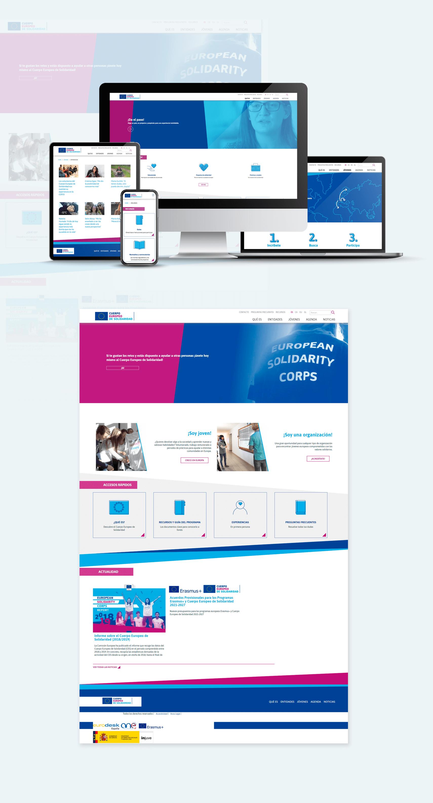 Desarrollo Web del Cuerpo Europeo de Solidaridad. Página web multi-idioma